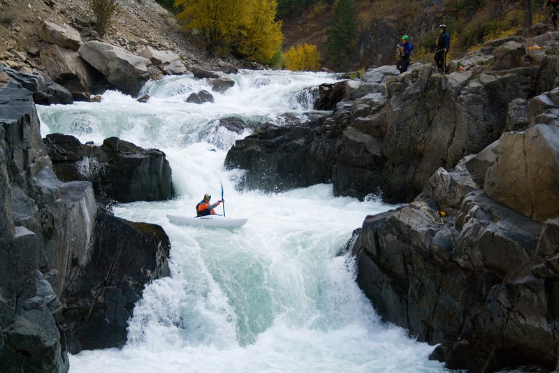Brian Ward above the last drop of Big Falls on the South Fork Payette River in Idaho.