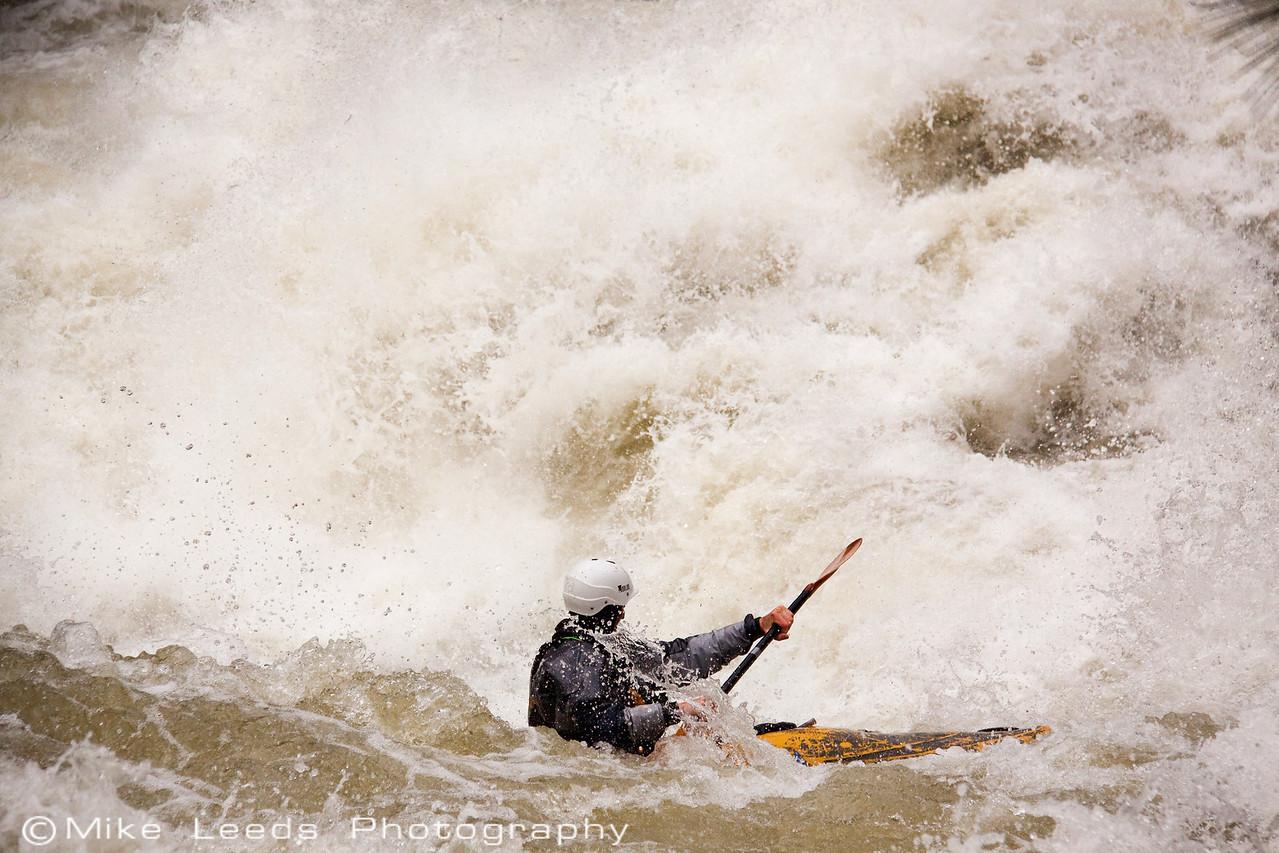 "Paddler Ryan Casey in ""Nutcracker"" on the North Fork Payette River at Flood, 8,000cfs+. Idaho."