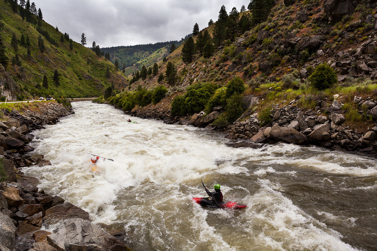 Kyle Hull following Brian Ward into Crunch Rapid on the North Fork Payette River while warming up for the North Fork Championship 2012.