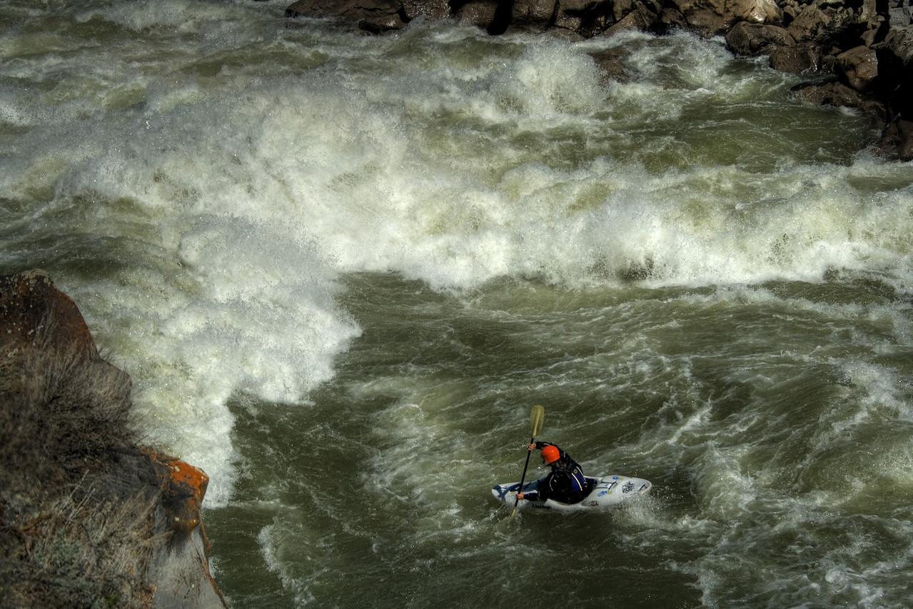 Paddler Brian Ward on the Milner Mile, Snake River  in Idaho. Flows around 15,000-17,000cfs.