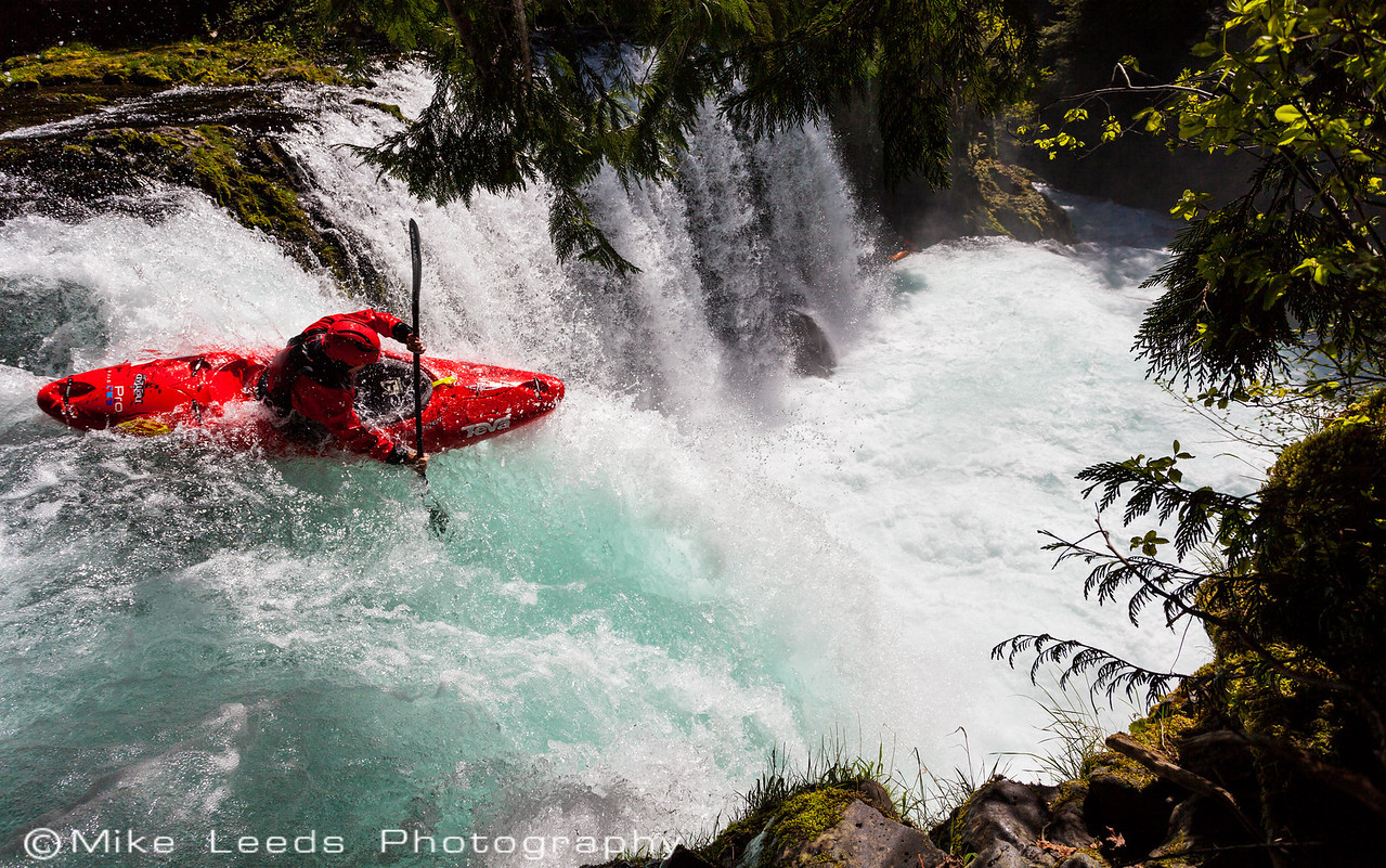Rush Sturges at the lip of Spirit Falls on the Little White Salmon River in Washington