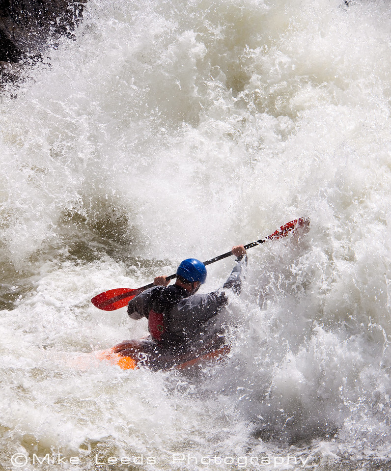 """Tristan McClaren in """"Disneyland"""" rapid on the North Fork Payette River, Idaho.  Flows approx 4,000cfs"""