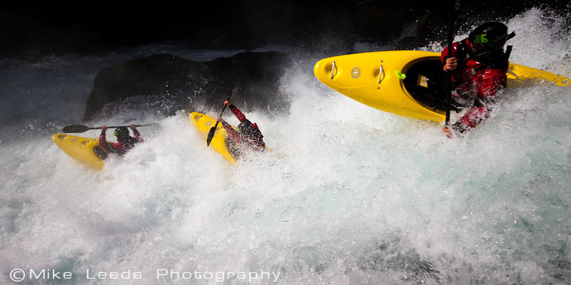 "Kyle Hull boofing in ""Boulder Sluice"" on the Little White Salmon around 4.1 feet."