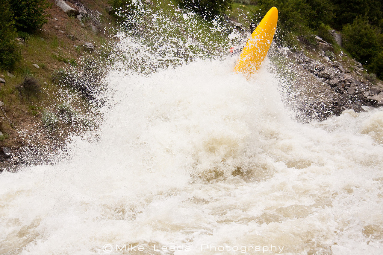"Paddler Brian Ward going big in ""Juicer"" on the North Fork Payette River, Idaho. 7,000-8,000cfs."