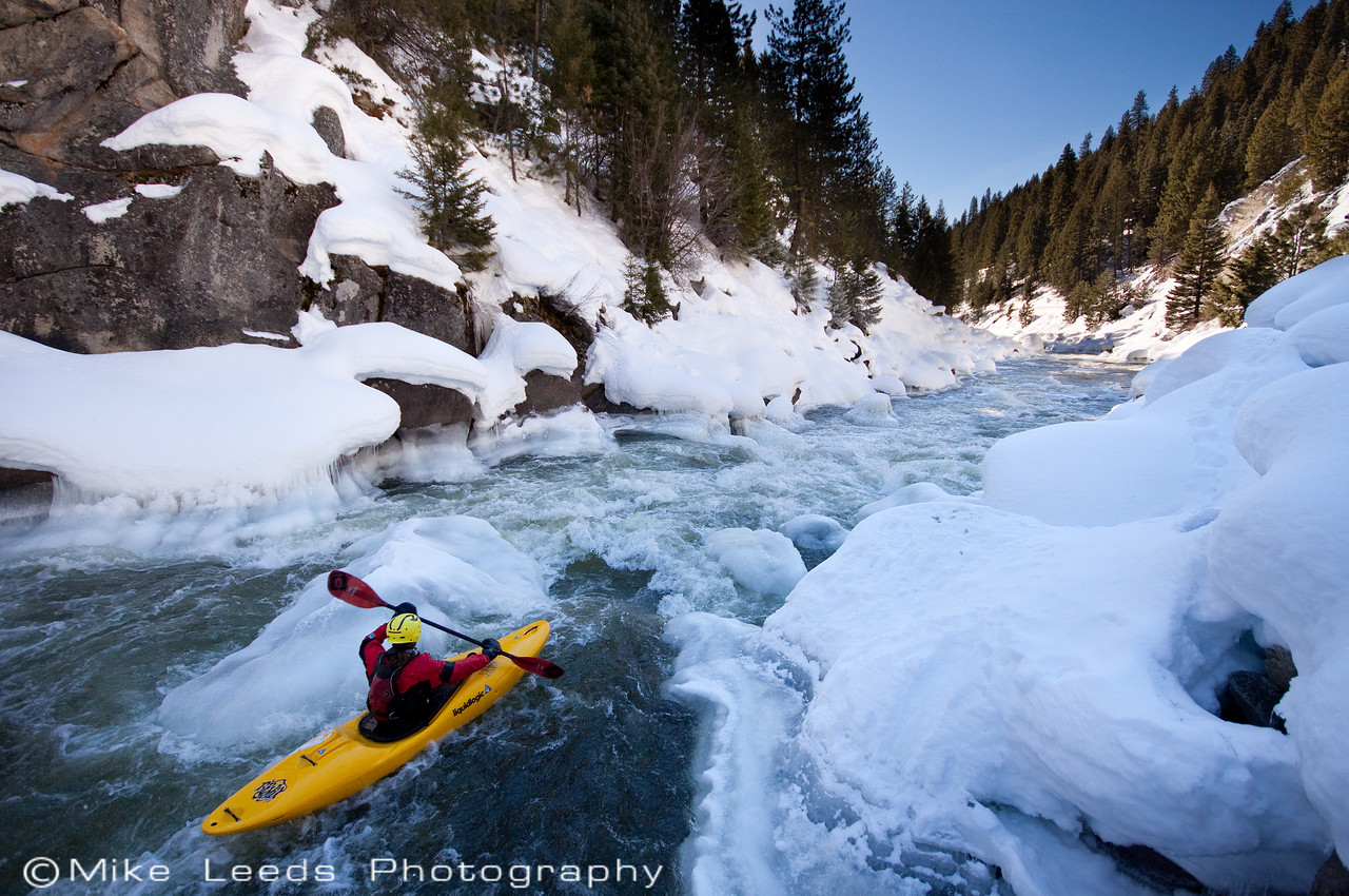 """Brian Ward in """"Steepness"""" on a nice day in February, North Fork Payette River, Idaho."""