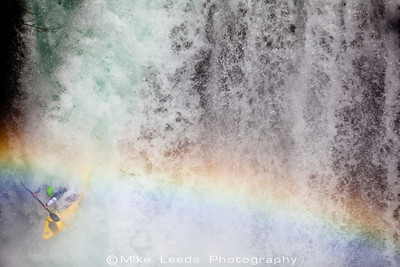 Kyle Hull under the rainbow at Spirit Falls on the Little White Salmon River in Washington.