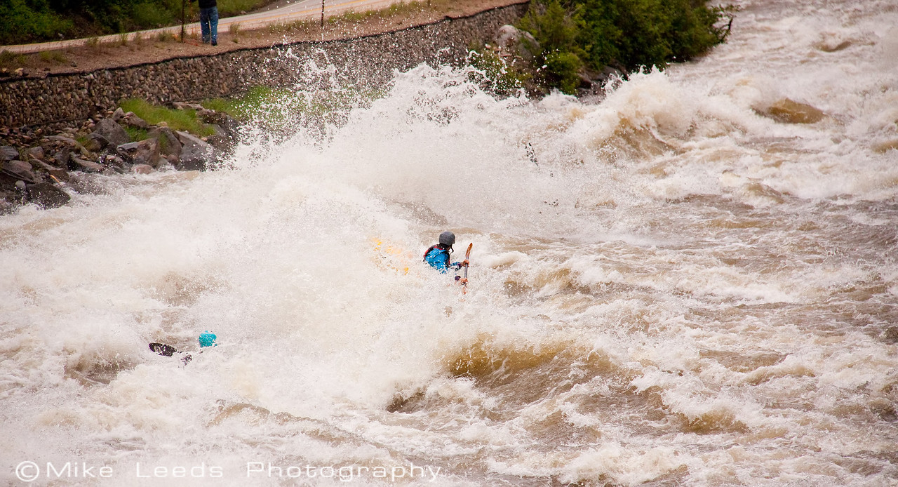"""Paddlers Brian Ward and James Mcleod shown in """"Juicer"""" on the North Fork Payette River, Idaho.  8,000cfs+"""