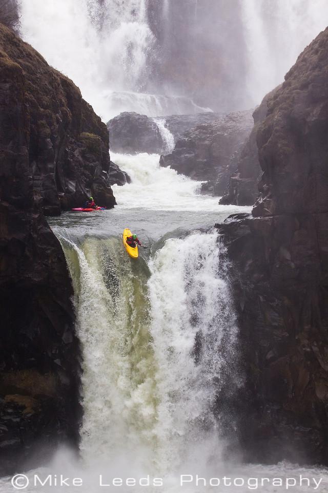 Devyn Scott at the lip of Celestial Falls, Oregon.