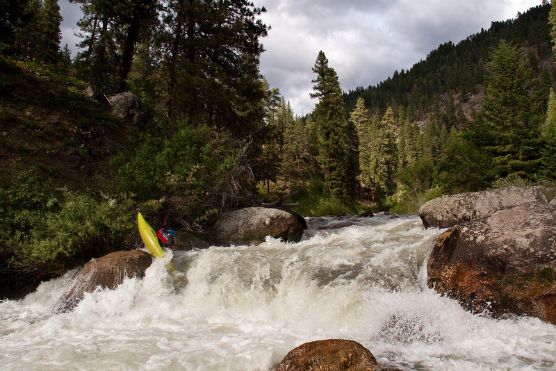 "Paddler Shane Trapp on the Middle Fork Payette River in Idaho. ""Lower Steeps"" 600cfs."