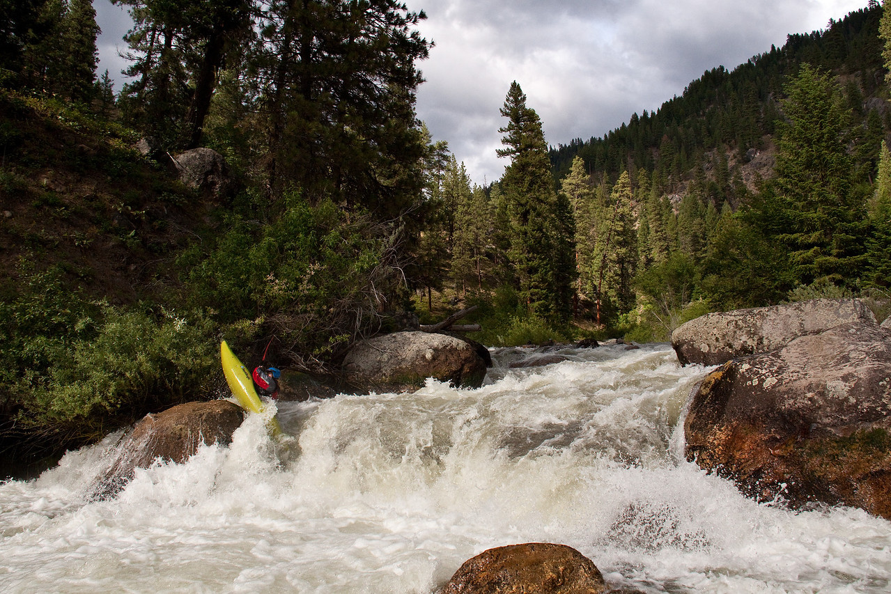"""Paddler Shane Trapp on the Middle Fork Payette River in Idaho. """"Lower Steeps"""" 600cfs."""