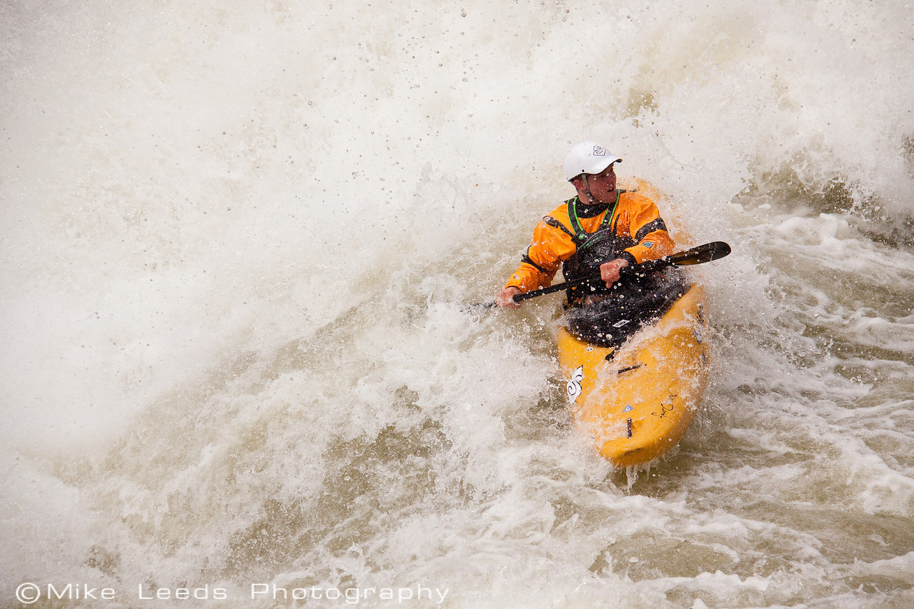 "Paddler James Byrd in ""Nutcracker"" on the North Fork Payette RIver, Idaho. 8,000cfs"