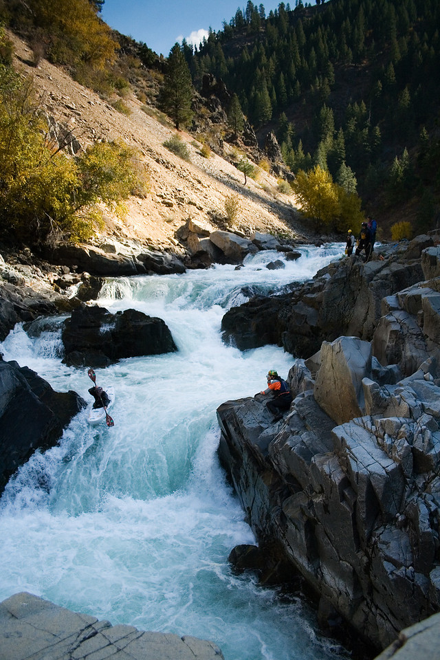Paddler Jeff Shelton on the last drop of Big Falls on the South Fork Payette River in Idaho.