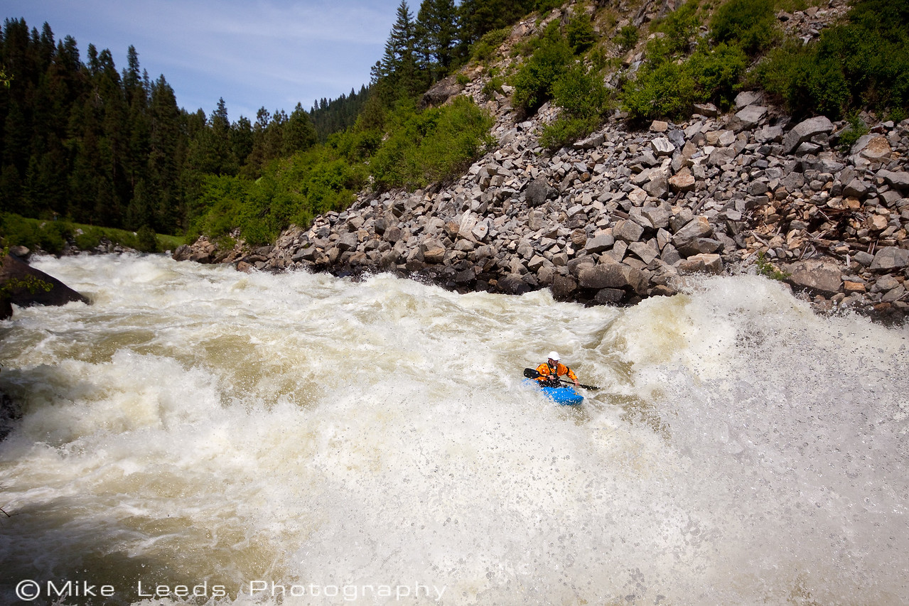 James Byrd shown in Rock Drop in Jacob's Ladder on the North Fork Payette River, Idaho. Flows approx 4,000-4,200cfs