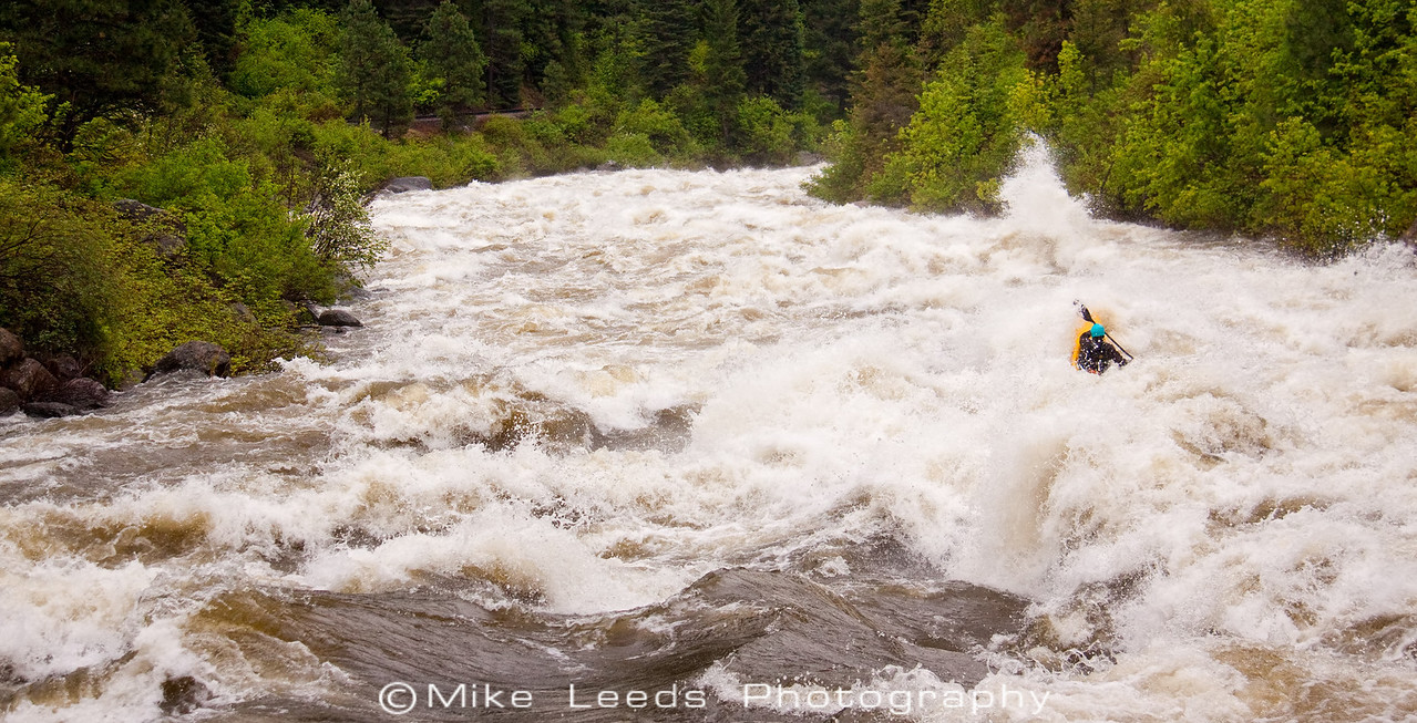 "Paddler Brian Ward in ""Bad Jose"" on the North Fork Payette River, Idaho. 8,000cfs+"