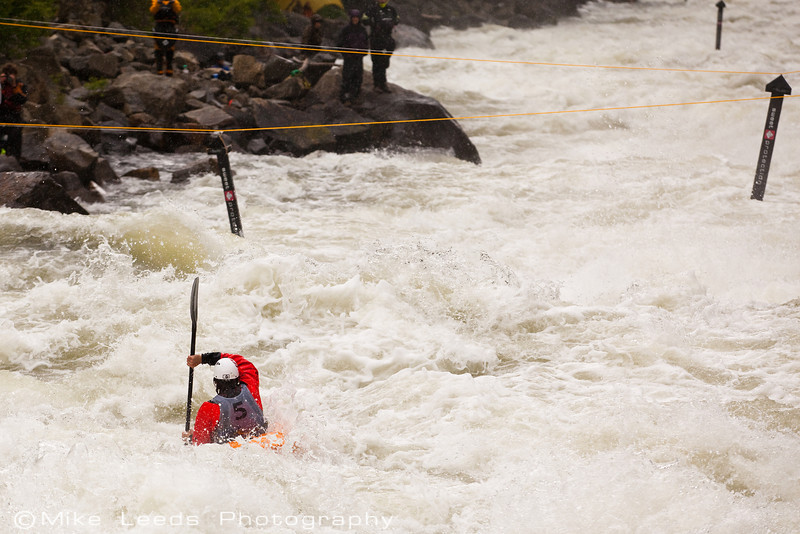 """Evan Garcia approaching """"Rock Drop"""" in """"Jacob's Ladder"""" during the North Fork Championship 2012. N.F. Payette River Idaho."""