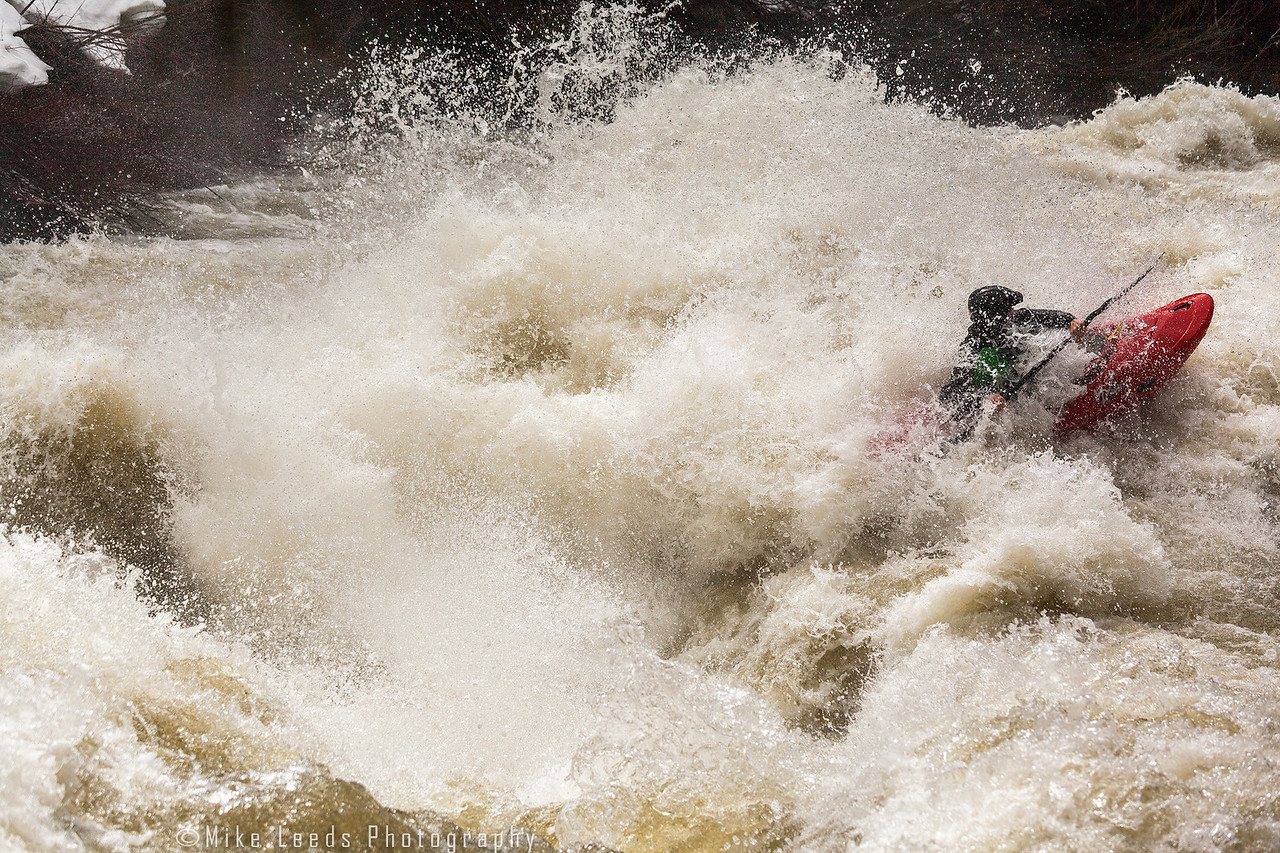 Sam Wells in Nutcracker Rapid on the North Fork Payette River in Idaho. 5,500cfs.  April 2017
