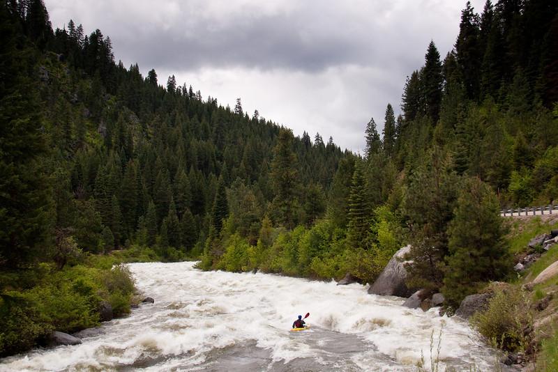 "Paddler Tristan McLaran in ""Bad Jose"" on the North Fork Payette River, Idaho.  8,000cfs"