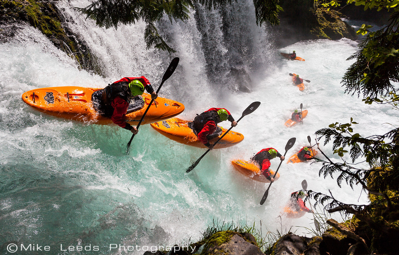 Evan Garcia sending Spirit Falls on the Little White Salmon River in Washington.