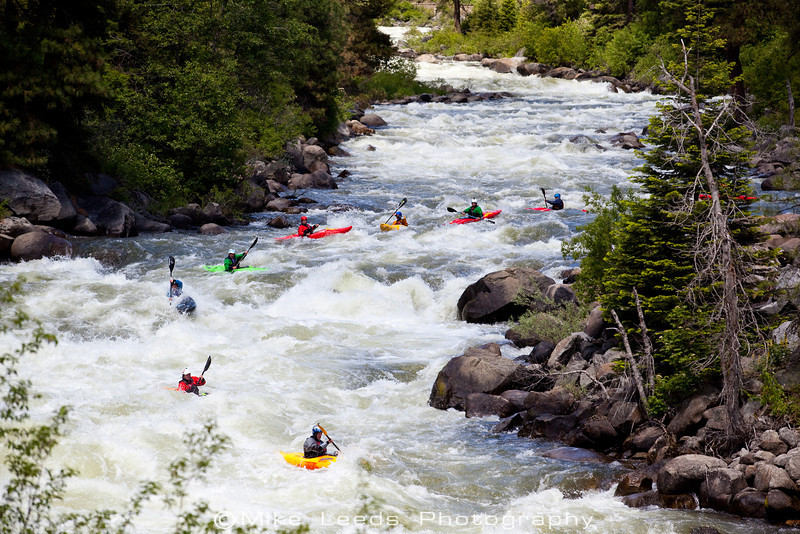 Big crew entering Bouncer Down the Middle on the North Fork Payette River, Idaho.