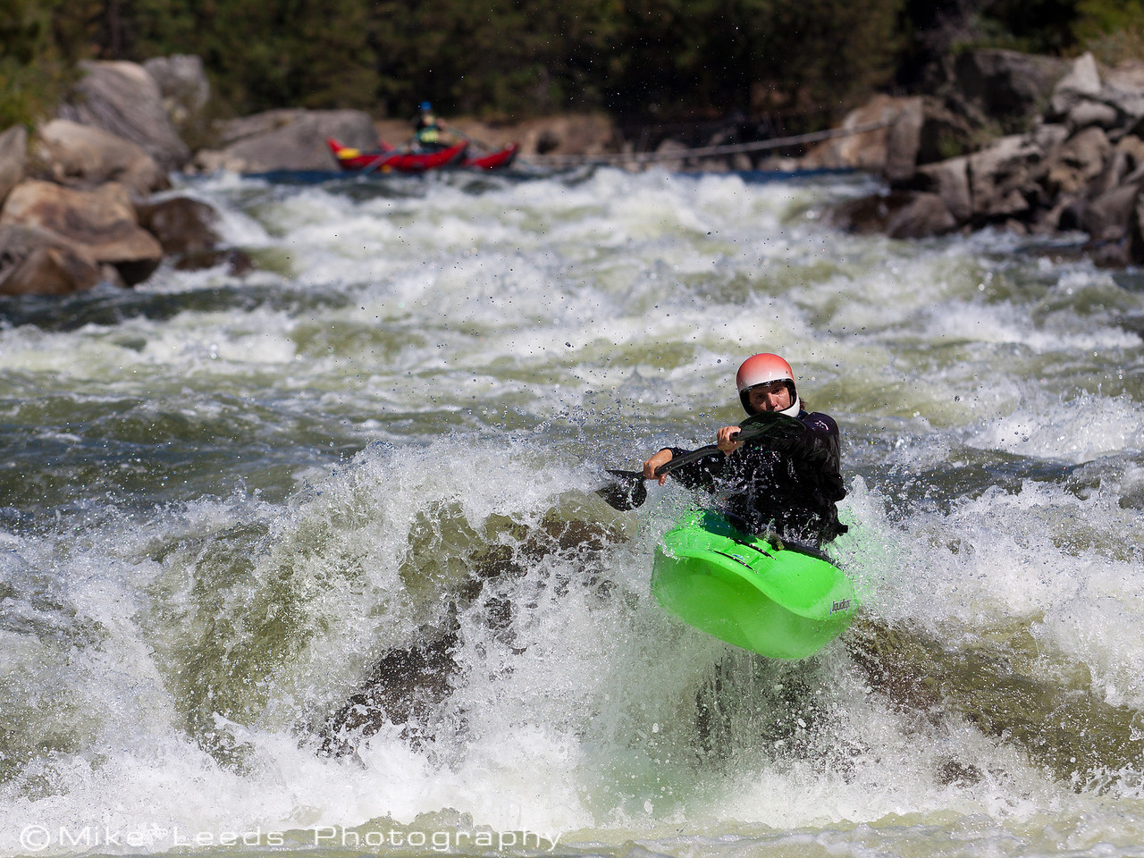 """Brian Ward hitting the boof in """"Slide"""" on the North Fork Payette River, Idaho."""