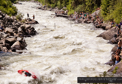 Ben Marr boofing into Rodeo Hole in Jacob's Ladder with style at the North Fork Championship 2013