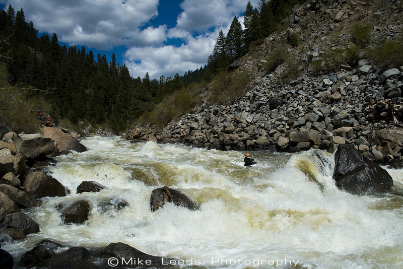 Paddler Brian Ward about to nail the move at Rock Drop. Jacob's Ladder on the N.F. Payette River in Idaho.