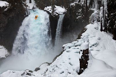 Erik Boomer kayaking Sahalie Falls on the McKenzie River in Oregon.