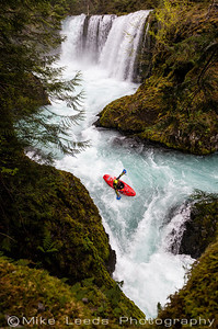 Kyle Hull kayaking Spirit Falls and Chaos on the Little White Salmon River in Washington with hand paddles.