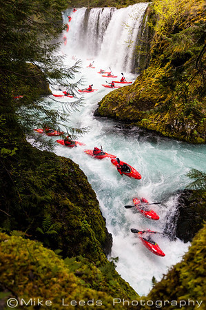 Rush Sturges kayaking Spirit Falls and Chaos on the Little White Salmon River in Washington on an April evening.
