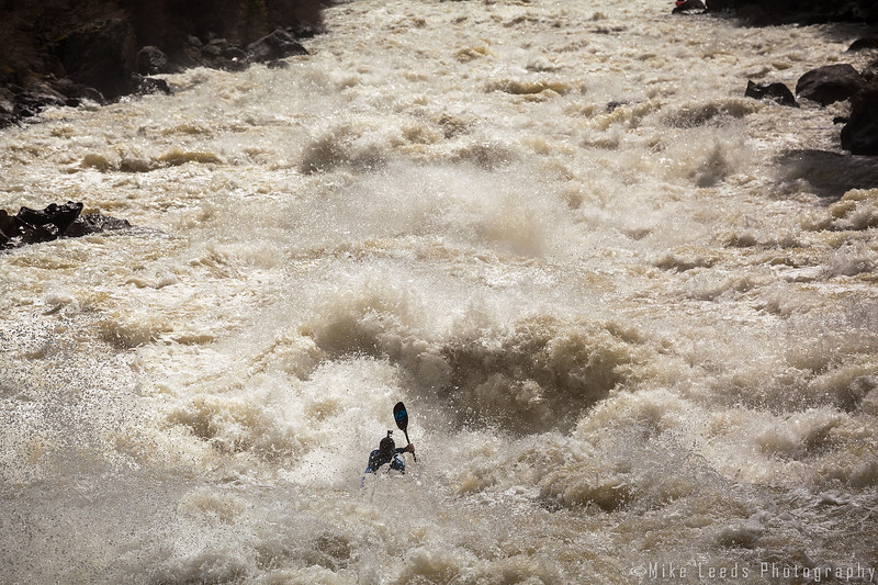 Alec Voorhees kayaking Jacob's Ladder on the North Fork Payette River in Idaho. 5,500cfs.