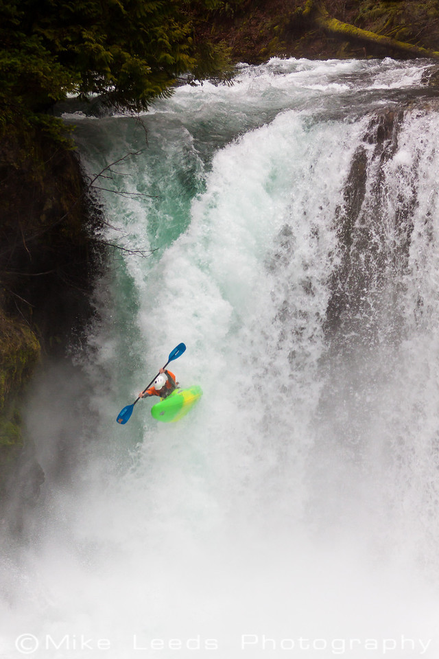 Seth Stoenner boofing Spirit Falls on the Little White Salmon River, Washington.