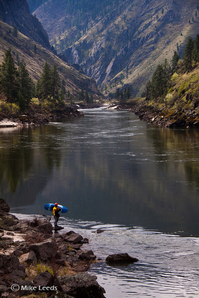 "Jesse Murphy getting ready for a sunny spring morning on the Salmon River. (Banks Mag-""Seasons Spring"" shoot with Skip Armstrong and Ryan Bailey."