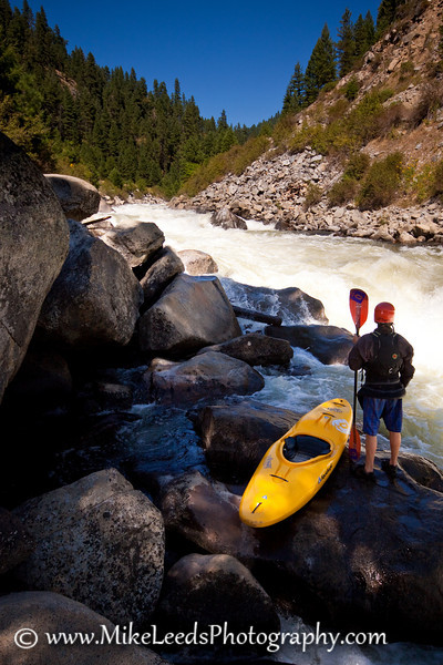 "Brian Ward looking upstream at ""Jacob's Ladder"" on the North Fork Payette River, Idaho."