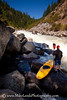 """Brian Ward looking upstream at """"Jacob's Ladder"""" on the North Fork Payette River, Idaho."""
