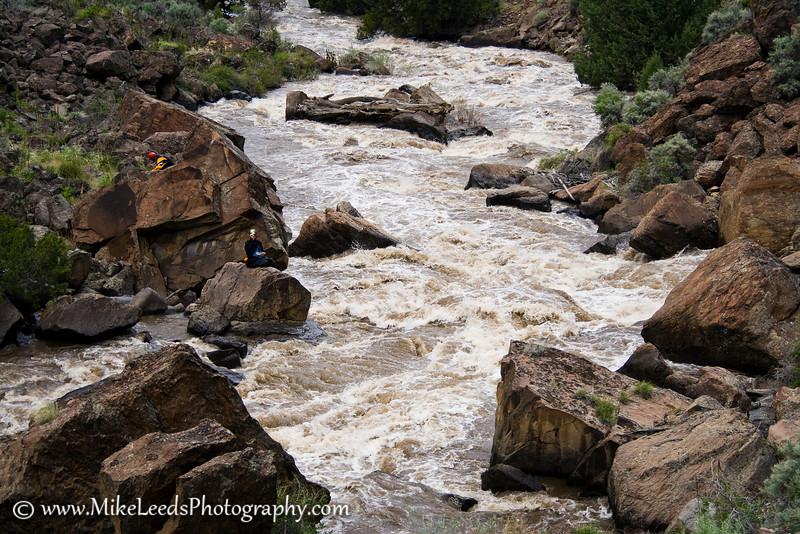 Lower half of Jarbidge Falls, Jarbidge River Idaho. Paddlers Ryan Scott and Brian Ward.