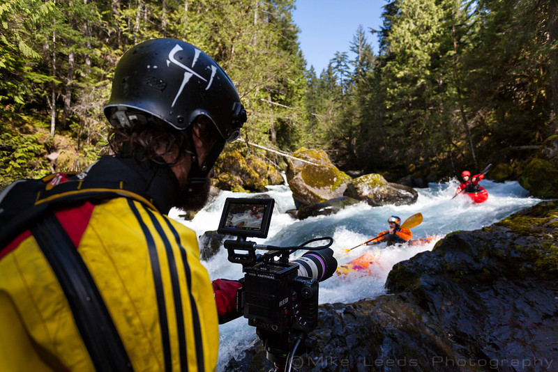 Jared Meehan filming on the Little White Salmon River for RiverRoots