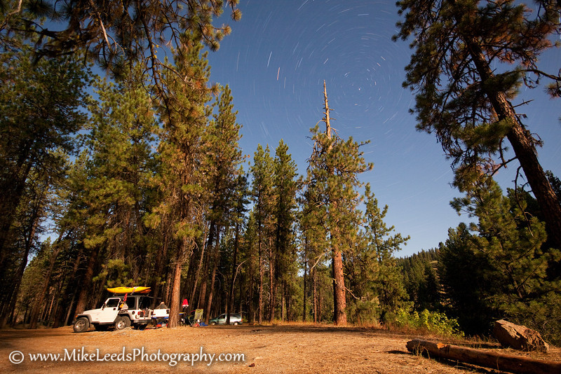 Full Moon at camp along the South Fork Payette River in Idaho.