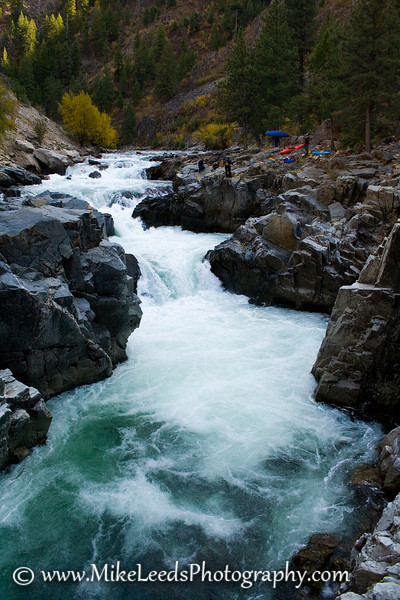 Looking back upstream at Big Falls on the South Fork Payette River, Idaho, in the fall.