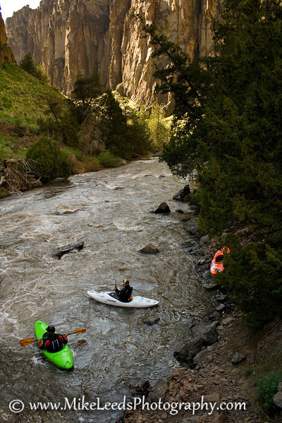 Kayakers Aaron Wydra and Brian Ward below Sevy Falls on the Jarbidge River in Idaho.