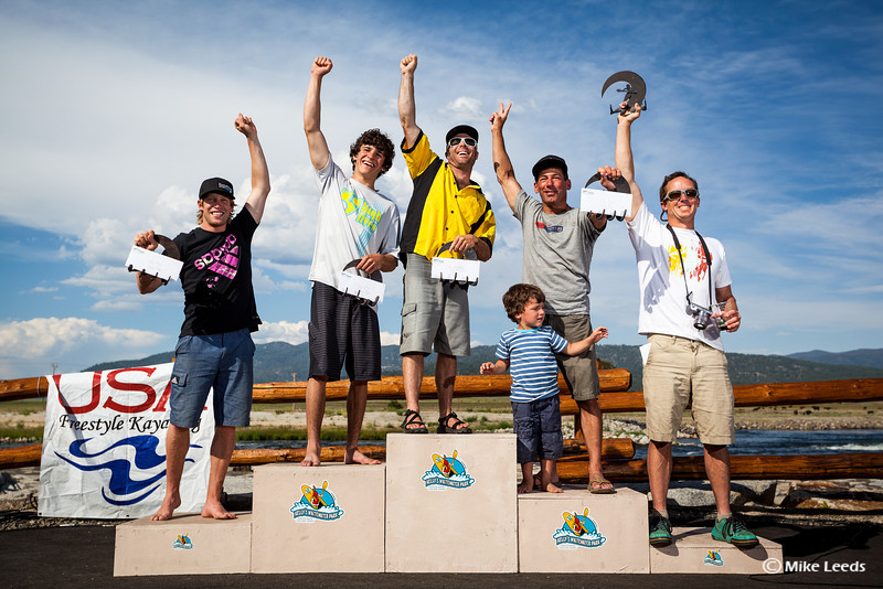 Pro Men's Podium at Kelly's Whitewater Park, in Cascade Idaho, after the 2012 USA Freestyle Kayaking Nationals. 1st) Stephen Wright, 2nd) Jason Craig, 3rd) Eric Jackson, 4th) Nick Troutman, 5th) Clay Wright.