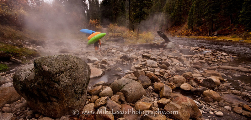 Take out for the Middle Fork Payette Canyon Section on a Rainy October afternoon.