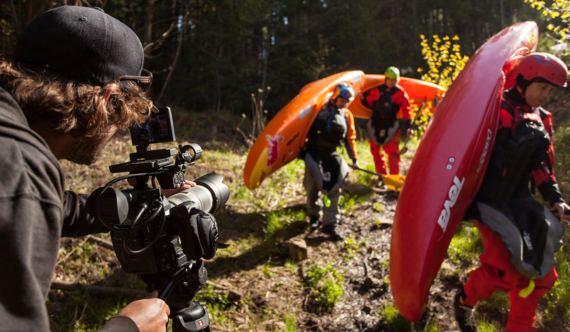 Matt Baker filming with River Roots as Rush Sturges, Rafa Ortiz, and Evan Garcia make their way to the put in of the Little White Salmon River in Washington for their latest project.