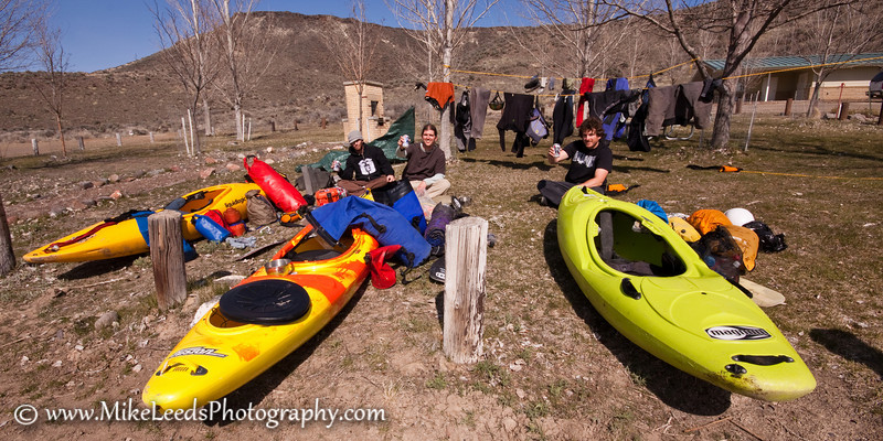 Take out for the Owyhee River, Three Forks to Rome, Oregon. M. Leeds, Brian Ward, Preston Woods.