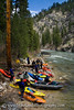 Safety meeting and lunch on the N.F. Boise River in April. We had 14 people on our trip.