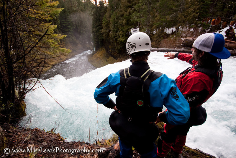 Kyle Hull and Seth Stoenner scouting Koosah Falls on the McKenzie River, Oregon.