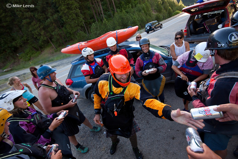 Getting beers passed out before the start of the lower 3 race on the N.F. Payette River, Idaho.