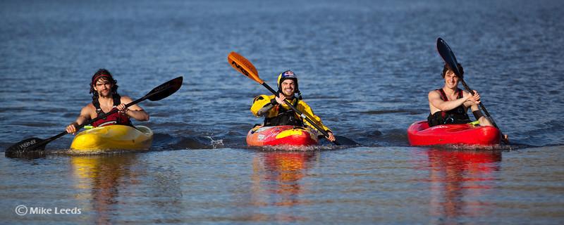 Rafa Ortiz after kayaking over Palouse Falls in Washington