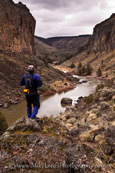 "Paddler Preston Woods overlooking the Owyhee River in Oregon. ""Three Forks to Rome"""