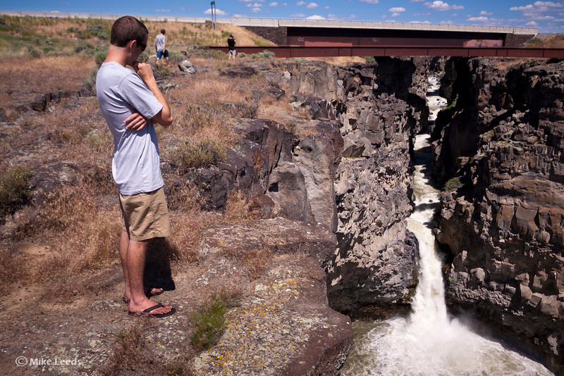 Tyler Allyn scouting the Devil's Washbowl on the Malad River. Idaho.