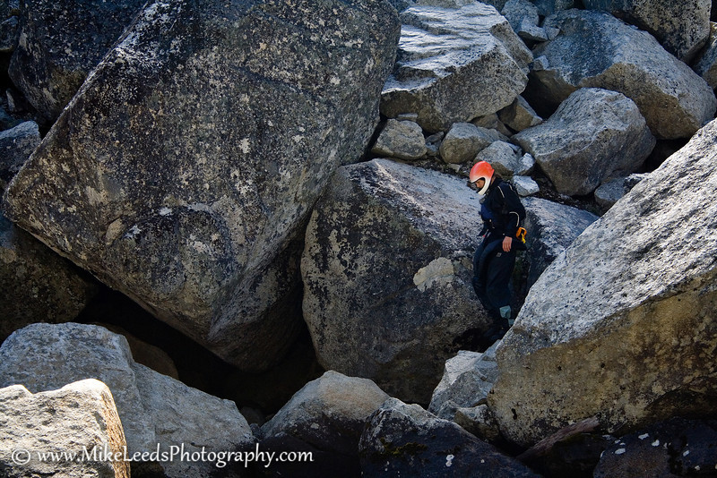 Brian Ward wandering around the rocks at Disneyland Rapid on the N.F. Payette River, Idaho.